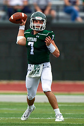 BLOOMINGTON, IL - September 28:  Brandon Bauer during a college football game between the IWU Titans and the Augustana Vikings on September 28 2019 at Wilder Field in Tucci Stadium in Bloomington, IL. (Photo by Alan Look)