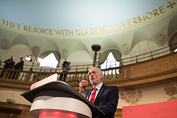 © Licensed to London News Pictures . 20/04/2017 . London , UK . JEREMY CORBYN delivers a speech to launch the Labour Party's campaign in the 2017 General Election , at Church House in Westminster . Photo credit: Joel Goodman/LNP