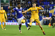 Preston North End midfielder Ryan Ledson (18) battles for possession  with Birmingham City midfielder Jacques Maghoma (19) during the EFL Sky Bet Championship match between Birmingham City and Preston North End at St Andrews, Birmingham, England on 1 December 2018.
