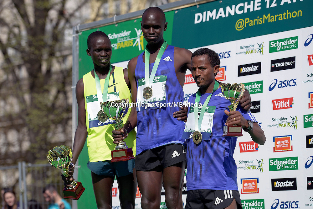 Mark Korir / Luka Kanda / Seboka Tola - 12.04.2015 - Marathon de Paris 2015<br />