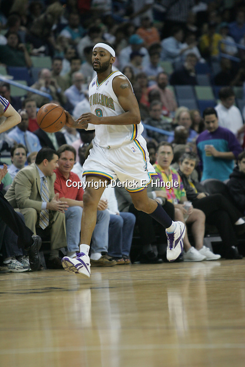 Hornets guard Morris Peterson takes the ball down court against the Washington Wizards on February 25, 2008 at the New Orleans Arena in New Orleans, Louisiana. The New Orleans Hornets lost 95-92 to the Washington Wizards.  .