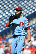 June 14, 2018 - Philadelphia, PA, U.S. - PHILADELPHIA, PA - JUNE 14: Philadelphia Phillies Pitcher Adam Morgan (46) looks on during the MLB baseball game between the Philadelphia Phillies and the Colorado Rockies on June 14, 2018 at Citizens Bank Park in Philadelphia, PA. The Phillies won 9-3. (Photo by Andy Lewis/Icon Sportswire) (Credit Image: © Andy Lewis/Icon SMI via ZUMA Press)