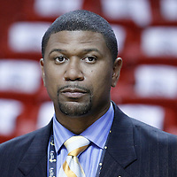 19 June 2012: ESPN analyst Jalen Anthony Rose is seen prior to the Miami Heat 104-98 victory over the Oklahoma City Thunder, in Game 4 of the 2012 NBA Finals, at the AmericanAirlinesArena, Miami, Florida, USA.