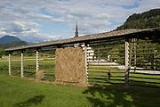 A traditional Slovenian drying frame hay rack called a kozolec, on 18th June 2018, in Bohinjska Bela, Bled, Slovenia.