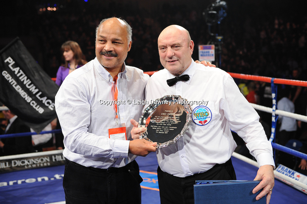 "Veteran boxer John Conteh presents Dave Parris with award on his retirement at the Echo Arena, Liverpool,11th December 2010,Frank Warren.tv Promotions ""Return Of The Magnificent Seven"" © Photo Leigh Dawney"