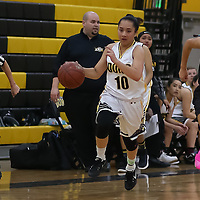 (Photograph by Bill Gerth for SVCN) Del Mar #10 Angela Tulua dribbles in the open court vs Sabarto in a pre season girls varsity basketball game at Del Mar High School, San Jose CA on 11/29/16.  (Sobarto 47 Del Mar 40)