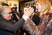 ROBERTO CAVALLI; EVA HERZIGOVA, Party to celebrate the launch of the new Cavalli Store. Roberto Cavalli. Sloane st. London. 17 September 2011. <br /> <br />  , -DO NOT ARCHIVE-© Copyright Photograph by Dafydd Jones. 248 Clapham Rd. London SW9 0PZ. Tel 0207 820 0771. www.dafjones.com.