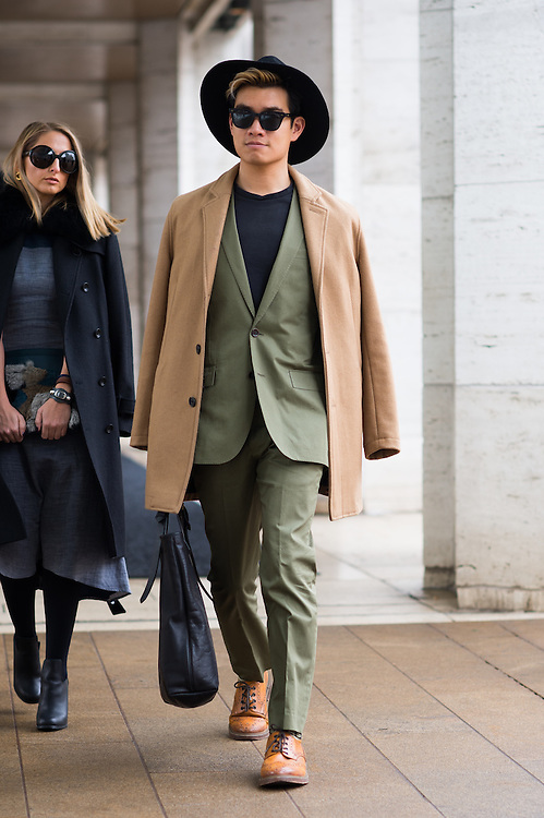 Camel Coat and Green Suit, Outside BCBG  FW2015