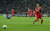 Photo: Paul Thomas.<br /> Porto v Liverpool. UEFA Champions League Group A. 18/09/2007.<br /> <br /> Dirk Kuyt of Liverpool misses the ball with a great chance of scoring another goal.