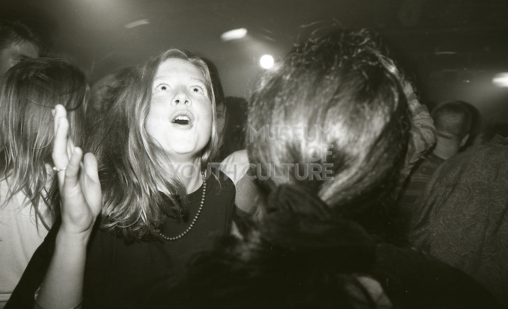 Woman clubbing at The Boardwalk in Manchester, October 1991.