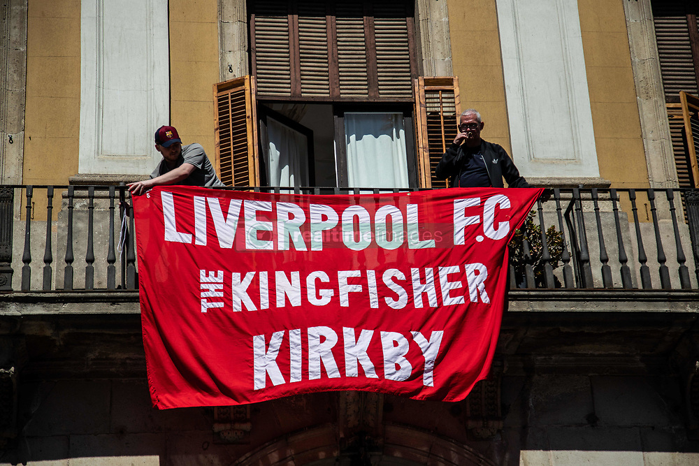 May 1, 2019 - Barcelona, Catalonia, Spain - Liverpool fans hanging a flag before the UEFA Champions League Semi Final first leg match between Barcelona and Liverpool at the Nou Camp on May 01, 2019 in Barcelona, Spain. (Credit Image: © Pau Venteo/NurPhoto via ZUMA Press)