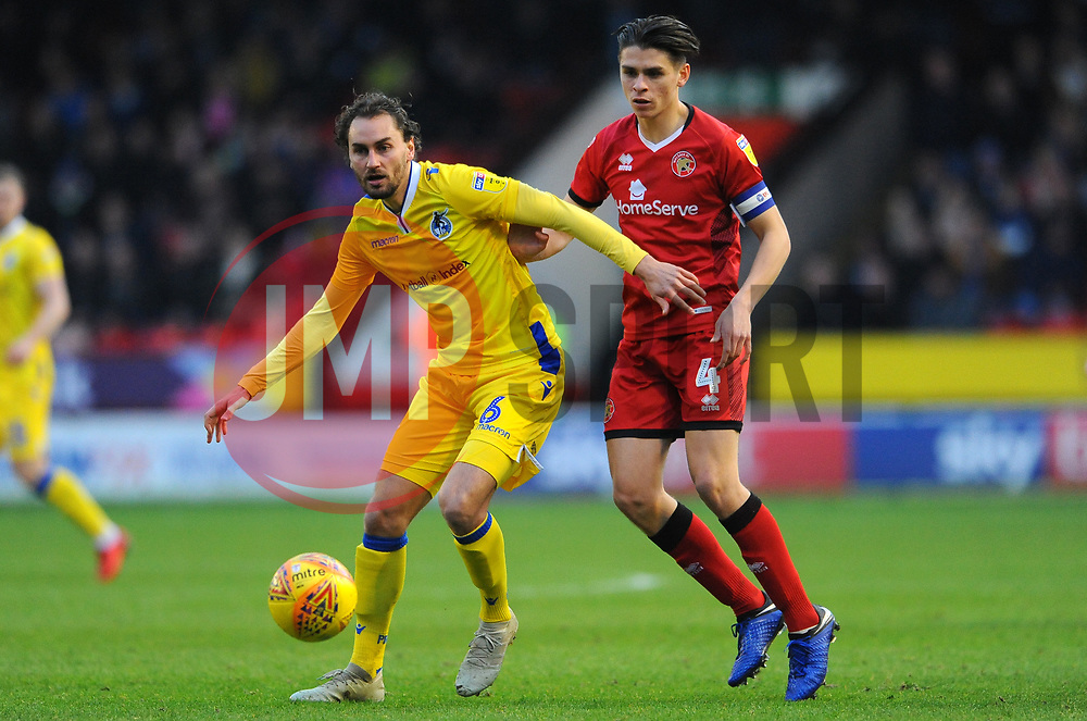 Edward Upson of Bristol Rovers tries to hold off George Dobson of Walsall - Mandatory by-line: Nizaam Jones/JMP - 26/12/2018 - FOOTBALL - Banks's Stadium - Walsall, England- Walsall v Bristol Rovers - Sky Bet League One