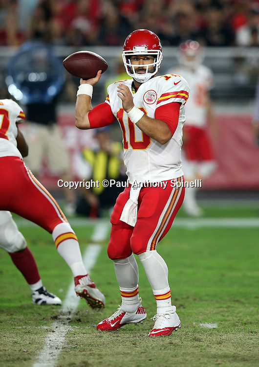 Kansas City Chiefs quarterback Chase Daniel (10) throws a second quarter pass for a first down during the 2015 NFL preseason football game against the Arizona Cardinals on Saturday, Aug. 15, 2015 in Glendale, Ariz. The Chiefs won the game 34-19. (©Paul Anthony Spinelli)