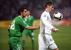 Aaron Huges and Milivoje Novakovic (11) during the fourth round qualification game of 2010 FIFA WORLD CUP SOUTH AFRICA in Group 3 between Slovenia and Northern Ireland at Stadion Ljudski vrt, on October 11, 2008, in Maribor, Slovenia.  (Photo by Vid Ponikvar / Sportal Images)