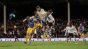 Preston North End Striker Joe Garner battling during the Sky Bet Championship match between Fulham and Preston North End at Craven Cottage, London, England on 28 November 2015. Photo by Pete Burns.