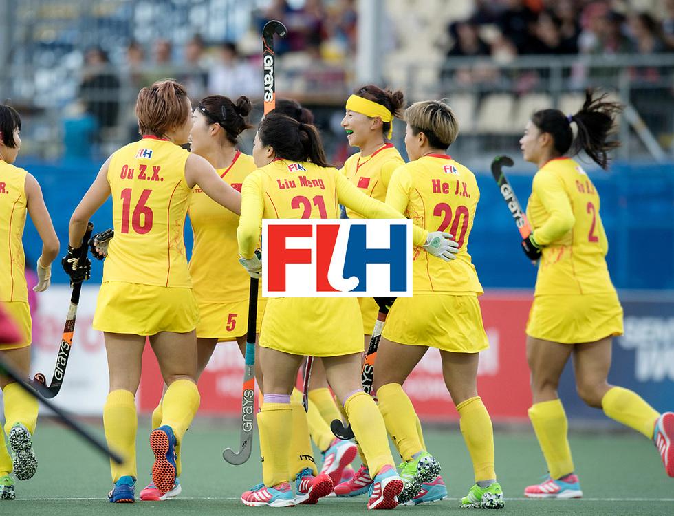 AUCKLAND - Sentinel Hockey World League final women<br /> Match id: 10309<br /> 19 USA v CHN (Losing Q/Finalists Match)<br /> Foto: Chines celebration <br /> WORLDSPORTPICS COPYRIGHT FRANK UIJLENBROEK