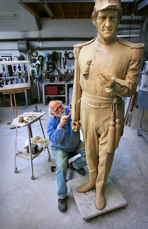Sculptor Peter Corlett working on his statue of Governor LaTrobe to go on the forecourt of the state library  Pic By Craig sillitoe SPECIALX 000 melbourne photographers, commercial photographers, industrial photographers, corporate photographer, architectural photographers, This photograph can be used for non commercial uses with attribution. Credit: Craig Sillitoe Photography / http://www.csillitoe.com<br />