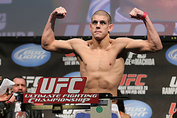 Nov 19; Auburn Hills, MI, USA;  Joe Lauzon weighs in for his fight against George Sotiropolous at UFC 123 in Auburn Hills, Michigan.