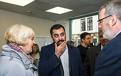 Pictured: Cecil Mieklejohn, leader of Falkirk Council, Hamza Yousef and  Pete Reid, Growth & Investment Manager<br /> Transport minister Humza Yousaf MSP opened Falkirk's active travel hub. The resource will encourage people to make healthier, greener travel choices. <br /> <br /> <br /> Ger Harley | EEm 6 February 2018