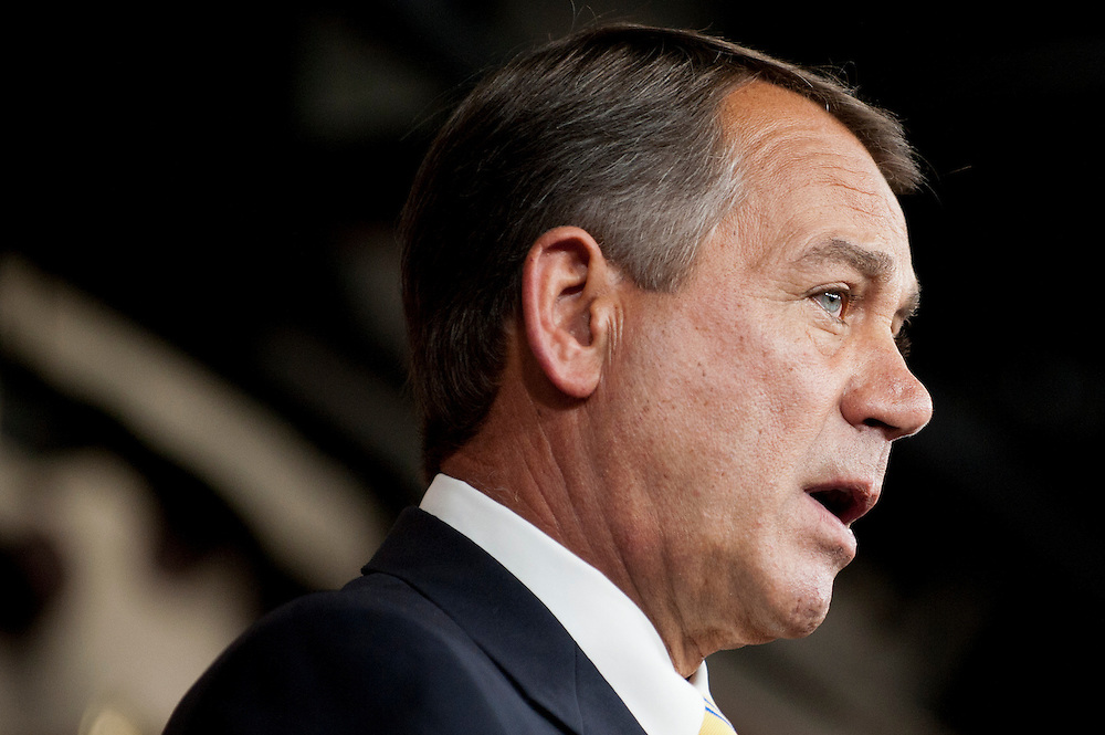 "Speaker of the House JOHN BOEHNER speaks to the media on Thursday about the recently passed ""Cut Cap and Balance"" budget plan in the House of Representatives."