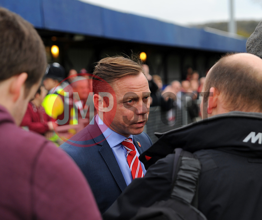 Doncaster Rovers' Manager Paul Dickov is interviewed after the match is postponed. - Photo mandatory by-line: Nizaam Jones - Mobile: 07583 387221 - 08/11/2014 - SPORT - Football - Weston-super-Mare - Woodspring Stadium - WSM v Doncaster - Sport - Round One
