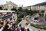 May 23-27, 2018: Monaco Grand Prix.  Start of the 76th Monaco Grand Prix from the Fairmont hairpin. Valtteri Bottas (FIN), Mercedes AMG Petronas Motorsport, F1 W09 EQ Power+, Esteban Ocon (FRA), Sahara Force India, VJM11, Kimi Raikkonen (FIN), Scuderia Ferrari, SF71H