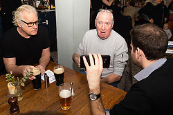 Dedicated retainer Paul Greendale, 54, left looks sceptical as Philip Davenport, a vocal brexiter discuss Brexit with Bild Reporter Philip Fabian in London. London January 13 2019.