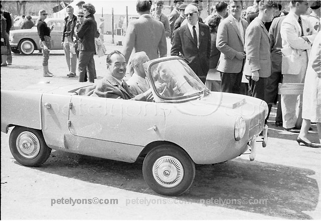 Little Le Mans 10-hour sedan race 1958; driver of Goggomobile is radio personality Art Peck.