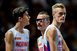 August 10, 2018 - Berlin, GERMANY - 180810 Jakob, Henrik and Filip Ingebrigtsen of Norway ahead of the men's 1500 meter final during the European Athletics Championships on August 10, 2018 in Berlin..Photo: Vegard Wivestad GrÂ¿tt / BILDBYRN / kod VG / 170201 (Credit Image: © Vegard Wivestad Gr¯Tt/Bildbyran via ZUMA Press)