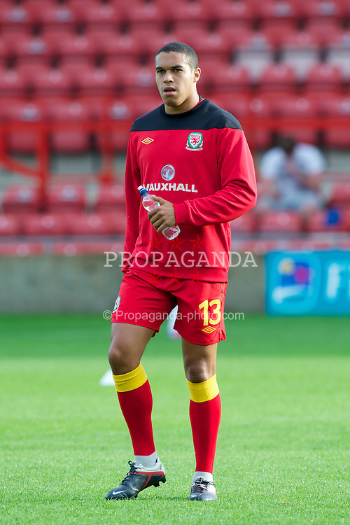 WREXHAM, WALES - Wednesday, August 15, 2012: Wales' Troy Brown warms-up before the UEFA Under-21 Championship Qualifying Round Group 3 match against Armenia at the Racecourse Ground. (Pic by Dave Richards/Propaganda)
