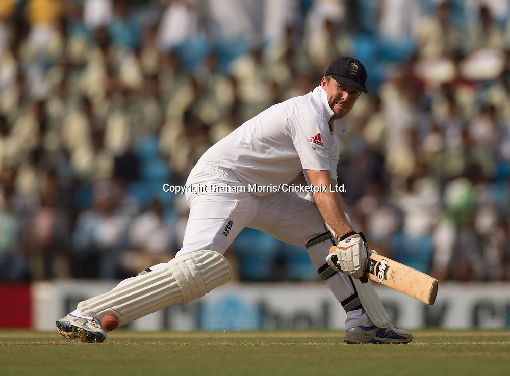 Graeme Swann bats during his half-century in the fourth and final Test Match between India and England at the VCA Stadium, Jamtha, Nagpur. Photograph: Graham Morris/cricketpix.com (Tel: +44 (0)20 8969 4192; Email: sales@cricketpix.com)  14/12/12