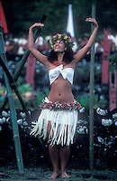 French Polynesia, Islands in the South Pacific, part of the French overseas Territories..woman doing a tradtional polynesian temple dance..Photo by Owen Franken