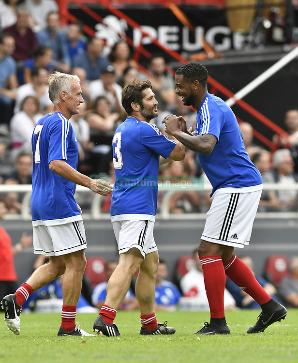 Bixente Lizarazu, Frederic Piquionne and Didier Deschamps during the during the France 98 V Stade Toulousain match at the Ernest Wallon stadium in Toulouse, France, on July 10, 2017. Photo by Pascal Rondeau/ABACAPRESS.COM