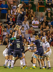 June 16, 2018 - Houston, Texas, US - Scotland Men's Rugby Team loose head Jamie Bhatti (1) catches the line out during the Emirates Summer Series 2018 match between USA Men's Team vs Scotland Men's Team at BBVA Compass Stadium, Houston, Texas (Credit Image: © Maria Lysaker via ZUMA Wire)