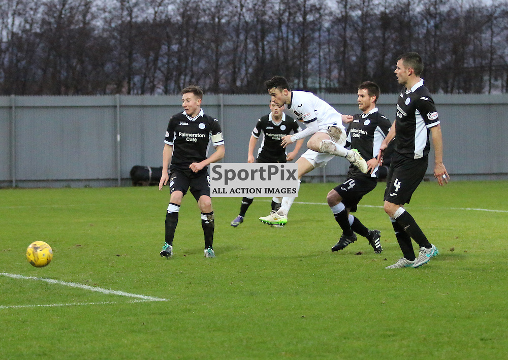 Kevin Cawley shoots for goal during the Dumbarton v Queen of the South  Scottish Cup 4th Round  09 January 2016<br /> <br /> (c) Andy Scott | SportPix.org.uk