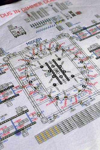 Nederland, the netherlands, Nijmegen, 14-11-2017Voorbereidingen van de concertreeks die De Staat geeft op het Vasim terrein. Opbouw van podium en lichtinstallatie. Het optreden vindt plaats in een grote tent van de Markies, en het podium is rond en kan draaien. Een detail van het lichtplan.Foto: Flip Franssen