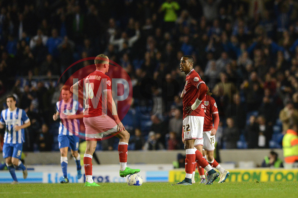 Jonathan Kodjia of Bristol City cuts a dejected figure  - Mandatory byline: Dougie Allward/JMP - 07966 386802 - 20/10/2015 - FOOTBALL - American Express Community Stadium - Brighton, England - Brighton v Bristol City - Sky Bet Championship