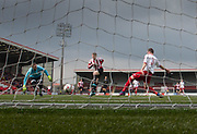 Owen Neave fires home Argyle's second goal - Dundee Argyle v Dykehead AFC in the Scottish Sunday Trophy semi final at Excelsior Stadium, Airdrie, Photo: David Young<br /> <br />  - © David Young - www.davidyoungphoto.co.uk - email: davidyoungphoto@gmail.com