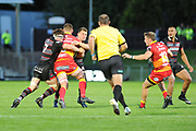 Duncan Weir and Hamish Watson combine to tackle Harrison Keddie during the Guinness Pro 14 2017_18 match between Edinburgh Rugby and Dragons Rugby at Myreside Stadium, Edinburgh, Scotland on 8 September 2017. Photo by Kevin Murray.