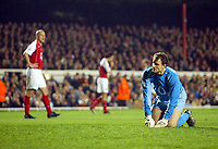 Fotball<br /> Champions League 2004/05<br /> Arsenal v Panathinaikos<br /> 2. november 2004<br /> Foto: Digitalsport<br /> NORWAY ONLY<br /> Arsenal goalkeeper Jens Lehmann gets up from the turf after team mate Pascal Cygan's (l) deflected shot went past him for a Panathinaikos goal making the score 1-1