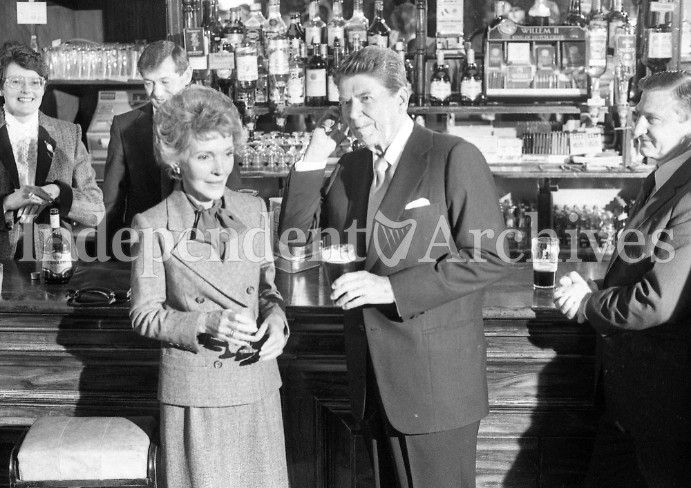 American President Ronald Reagan and his wife Nancy in the Ronald Reagan pub in Ballyporeen, Co Tipperary during their visit to Ireland, 03/06/1984. (Part of the Independent Newspapers Ireland/NLI Collection).