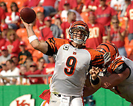 October 14, 2007 - Kansas City, MO..Quarterback Carson Palmer #9 of the Cincinnati Bengals throws the ball down field in the fourth quarter against the Kansas City Chiefs, during a NFL football game at Arrowhead Stadium in Kansas City, Missouri on October 14, 2007...FBN:  The Chiefs defeated the Bengals 27-20.  .Photo by Peter G. Aiken/Cal Sport Media