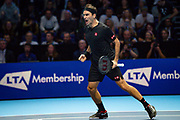 Roger Federer of Switzerland celebrates winning his match against Novak Djokovic of Serbia during the Nitto ATP Finals at the O2 Arena, London, United Kingdom on 14 November 2019.