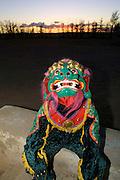 GOBI DESERT, MONGOLIA..08/23/2001.Preparations for a folcloric mask dance show at Juulchin Gobi tourist camp..(Photo by Heimo Aga)