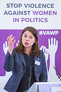 Sarah Olney (Former MP, Liberal Democrats) Session 8: RECOMMENDATIONS TO PROTECT WOMEN'S RIGHT TO PARTICIPATE IN POLITICS FREE FROM VIOLENCE 'Violence Against Women in Politics' Conference, organised by all the UK political parties in partnership with the Westminster Foundation for Democracy, 19th and 20th of March 2018, central London, UK.  (Please credit any image use with: © Andy Aitchison / WFD