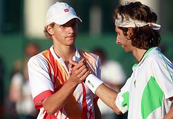 Blaz Rola of Slovenia and Francesco Piccari of Italy at 1st Round of ATP Challenger BMW Ljubljana Open 2008, on September 8, 2008, Ljubljana, Slovenia. (Photo by Vid Ponikvar / Sportal Images)...