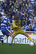 Reading, England, Nationwide Division One Football Reading v Preston North End, Brian O'Neill [left] and Nicky Forster challenge for the high ball. at the Madejski Stadium, on 18/10/2003 [Credit  Peter Spurrier/Intersport Images]..