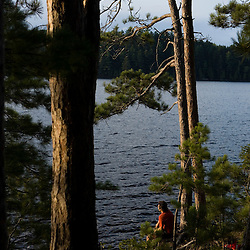A man sits beneath pine trees on an island in Prong Pond near Moosehead Lake Maine USA (MR)