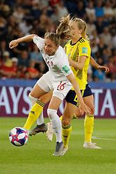 Sweden's Magdalena Eriksson battling Canada's Janine Beckie during the FIFA Women soccer World Cup 2019 1/8 of final match, Sweden vs Canada at Parc des Princes, Paris, France on June 24, 2019. Sweden won 1-0 reaching the quarter-finals. Photo by Henri Szwarc/ABACAPRESS.COM