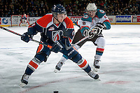 KELOWNA, CANADA -FEBRUARY 1: Dalton Yorke #5 of the Kelowna Rockets stick checks Matt Bellerive C #11 of the Kamloops Blazers on February 1, 2014 at Prospera Place in Kelowna, British Columbia, Canada.   (Photo by Marissa Baecker/Getty Images)  *** Local Caption *** Dalton Yorke; Matt Bellerive;